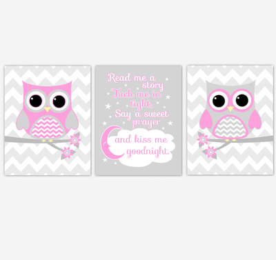 Owl Baby Girl Nursery Wall Art Pink Gray Birds Nursery Rhyme Baby Nursery Decor Read Me A Story