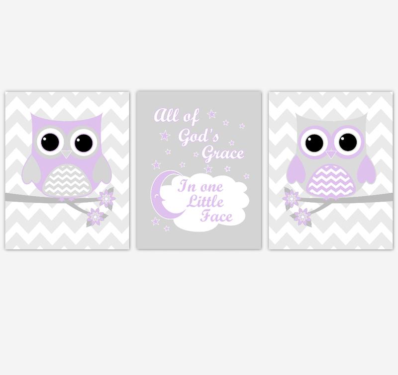 Owl Baby Girl Nursery Wall Art Purple Gray Lavender Birds Baby Nursery Decor Prints