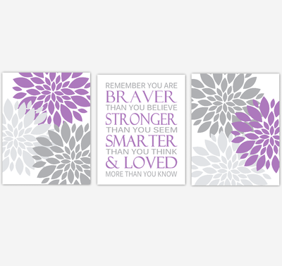 Purple Gray Dahlia Mum Flower Baby Girl Nursery Art Girl Bedroom Home Decor Baby Nursery Decor Prints  Always Remember You Are Braver