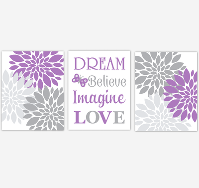 Purple Gray Dahlia Mum Flower Baby Girl Nursery Art Girl Bedroom Home Decor Baby Nursery Decor Prints