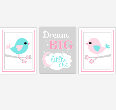 Birds Baby Girl Nursery Wall Art Pink Teal Aqua Baby Nursery Decor Prints Home Decor Dream Big Little One