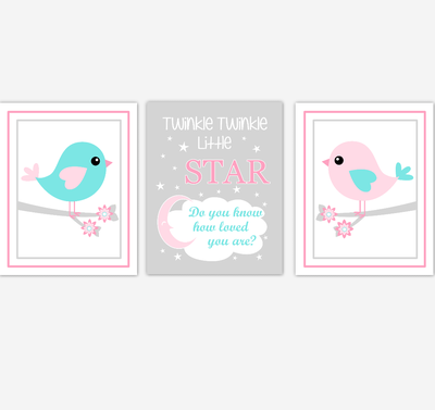Birds Baby Girl Nursery Wall Art Pink Teal Aqua Baby Nursery Decor Prints Home Decor Twinkle Twinkle Little Star