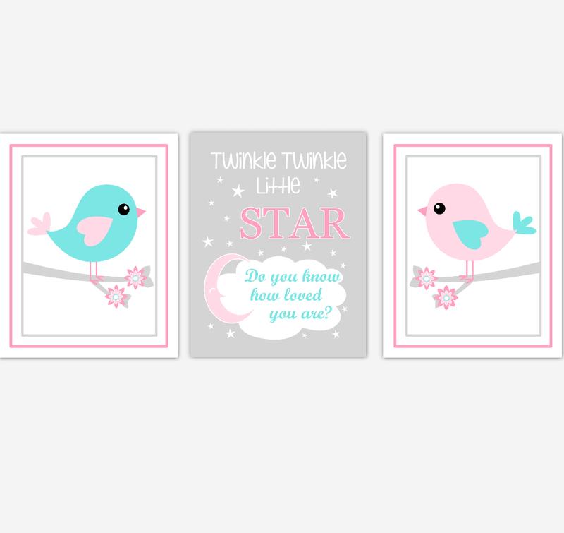 Birds Baby Girl Nursery Wall Art Pink Teal Aqua Baby Nursery Decor Prints Home Decor Twinkle Twinkle Little Star
