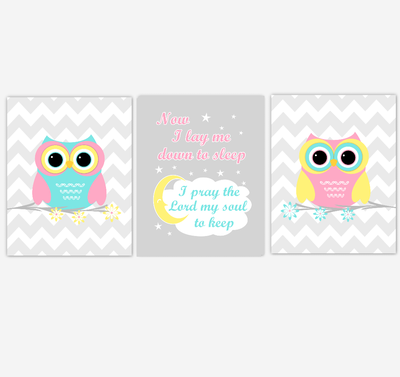 Owls Baby Girl Nursery Wall Art Pink Yellow Teal Aqua Gray Birds Baby Nursery Decor Prints Now I Lay Me Down To Sleep