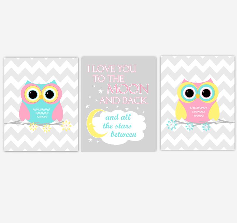 Owls Baby Girl Nursery Wall Art Pink Yellow Teal Aqua Gray Birds Baby Nursery Decor Prints I Love You To The Moon And Back