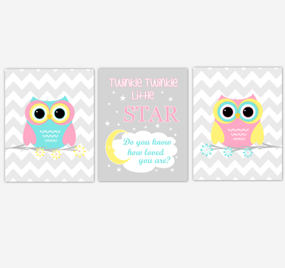 Owls Baby Girl Nursery Wall Art Pink Yellow Teal Aqua Gray Birds Baby Nursery Decor Prints Twinkle Twinkle Little Star