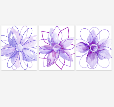 Watercolor Flower Wall Art Baby Girl Nursery Purple Shades Floral Wall Art Prints Home Decor SET OF 3 UNFRAMED PRINTS