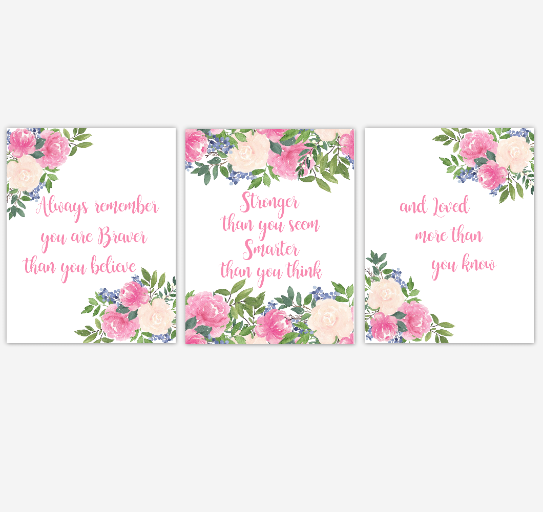 Pink Floral Watercolor Flower Wall Art Baby Girl Nursery PinWatercolor Flower Wall Art Baby Girl Nursery Pink Floral Wall Art Prints Home Decor SET OF 3 UNFRAMED PRINTS