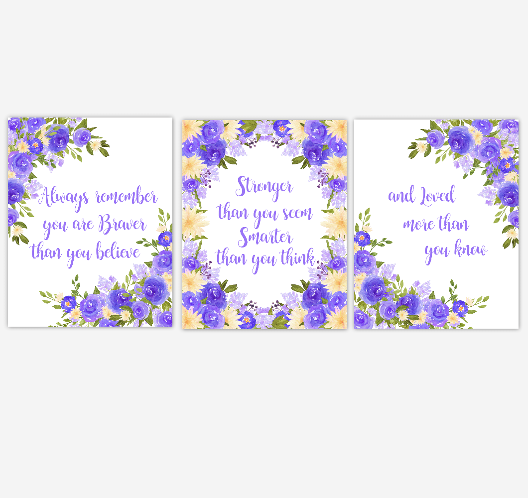 Watercolor Flower Wall Art Baby Girl Nursery Purple Yellow Floral Wall Art Prints Home Decor SET OF 3 UNFRAMED PRINTS
