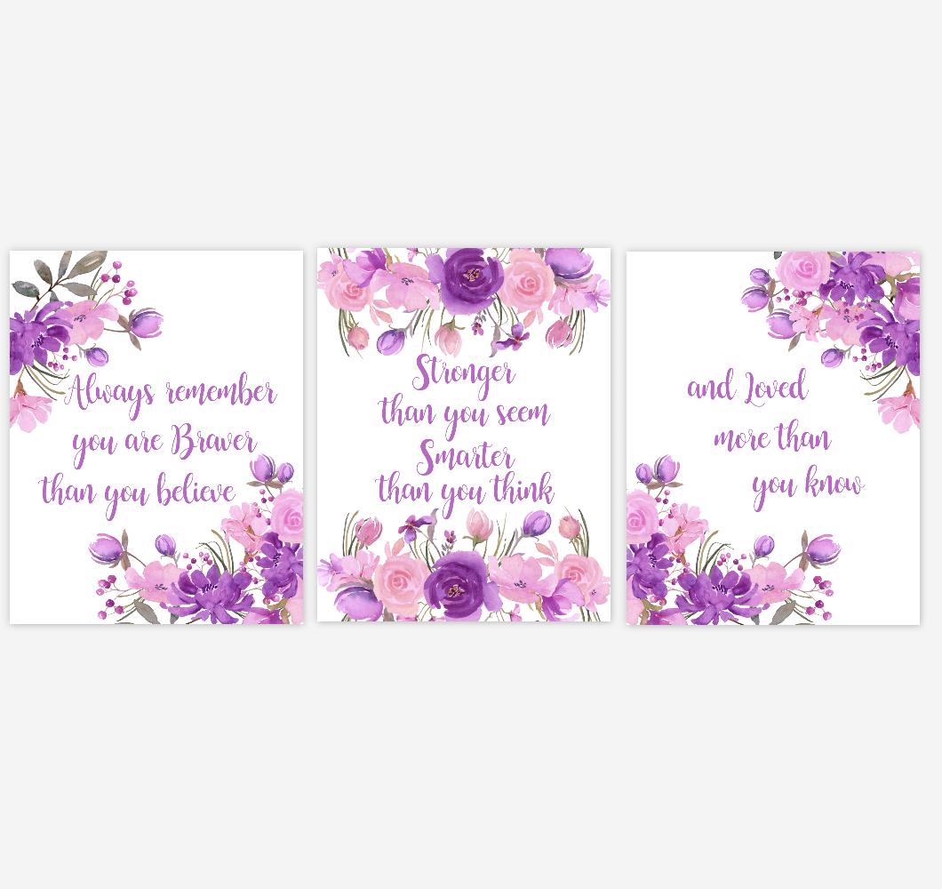 Watercolor Flower Wall Art Baby Girl Nursery Purple Pink Floral Wall Art Prints Home Decor SET OF 3 UNFRAMED PRINTS