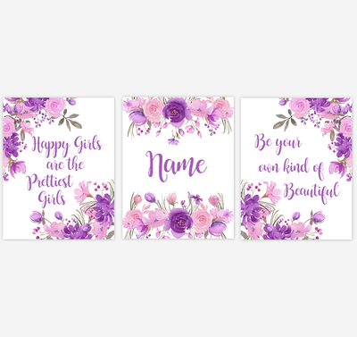Watercolor Flower Baby Girl Nursery Wall Art Purple Pink Floral Bedroom Art Prints Baby Nursery Decor SET OF 3 UNFRAMED PRINTS