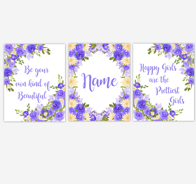 Watercolor Flower Wall Art Purple Yellow Floral Girl Bedroom Art Prints Baby Nursery Decor SET OF 3 UNFRAMED PRINTS