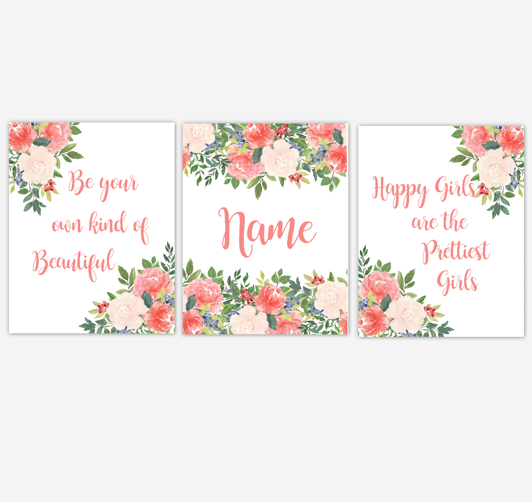 Watercolor Flower Wall Art Coral Floral Girl Bedroom Art Prints Baby Nursery Decor SET OF 3 UNFRAMED PRINTS