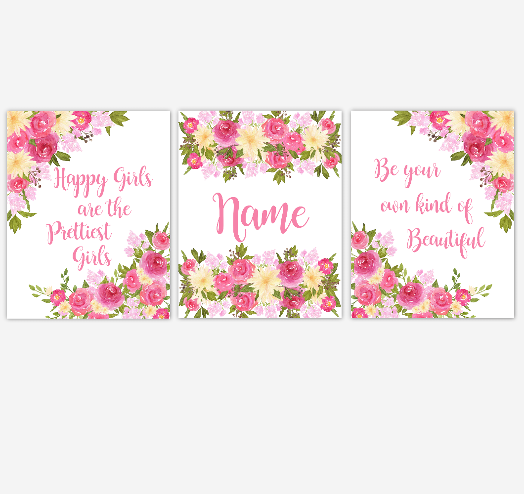 Watercolor Flower Wall Art Pink Yellow Floral Girl Bedroom Art Prints Baby Nursery Decor SET OF 3 UNFRAMED PRINTS