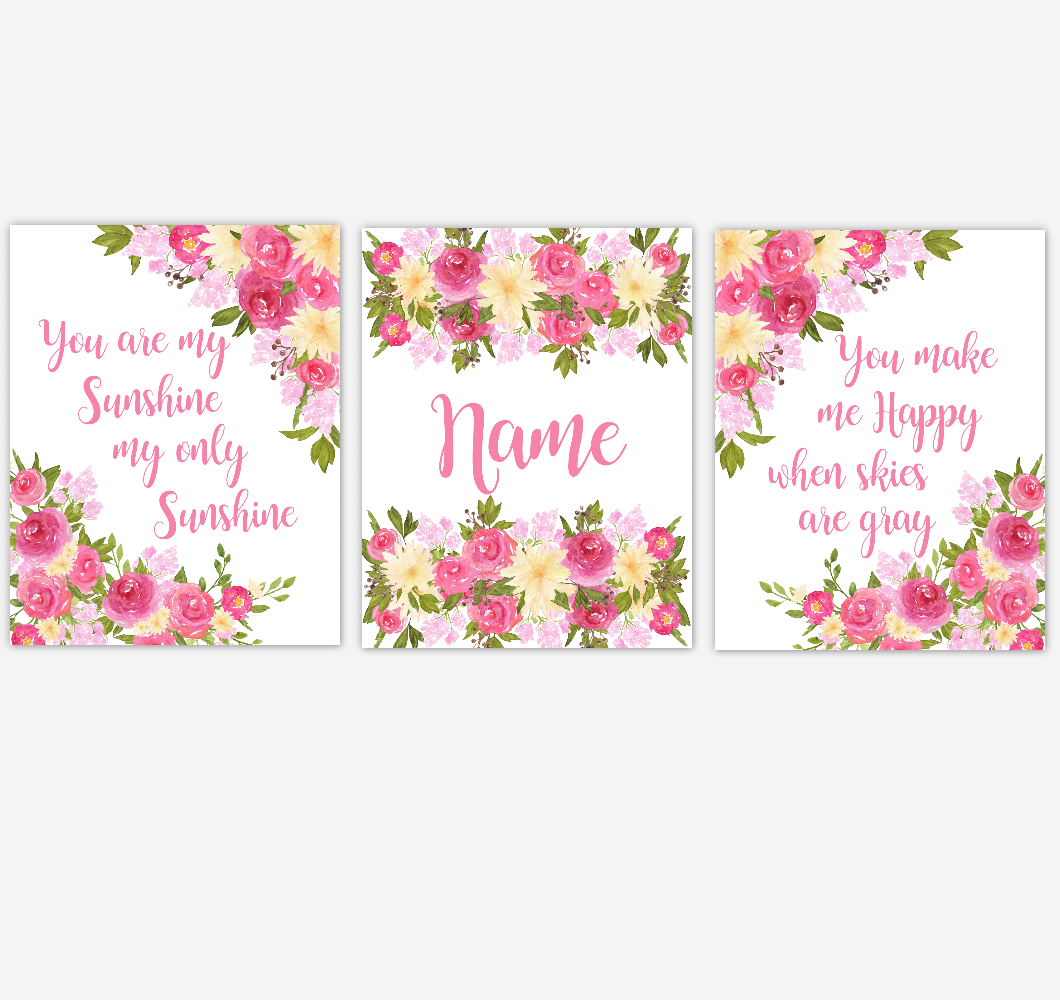 Floral Watercolor Flower Wall Art Pink Yellow Floral Girl Bedroom Art Prints Baby Nursery Decor SET OF 3 UNFRAMED PRINTS