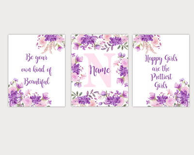 Watercolor Flower Wall Art Purple Pink Floral Girl Bedroom Art Prints Baby Nursery Decor SET OF 3 UNFRAMED PRINTS