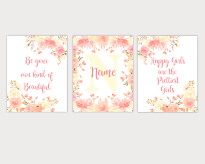 Floral Watercolor Flower Wall Art Coral Yellow Floral Girl Bedroom Art Prints Baby Nursery Decor SET OF 3 UNFRAMED PRINTS