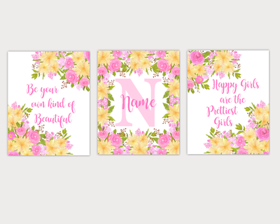 Floral Watercolor Flower Wall Art Pink Yellow Floral Girl Bedroom Art Prints Baby Nursery Decor SET OF 3 UNFRAMED PRINT