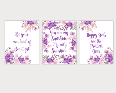 Watercolor Flower Wall Art Baby Girl Nursery Purple Pink Floral Wall Art Prints Home Decor SET OF 3 UNFRAMED PRINTS