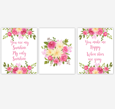 Baby Girl Nursery Wall Art Watercolor Floral Pink Yellow Flower Prints Baby Nursery Decor SET OF 3 UNFRAMED PRINTS