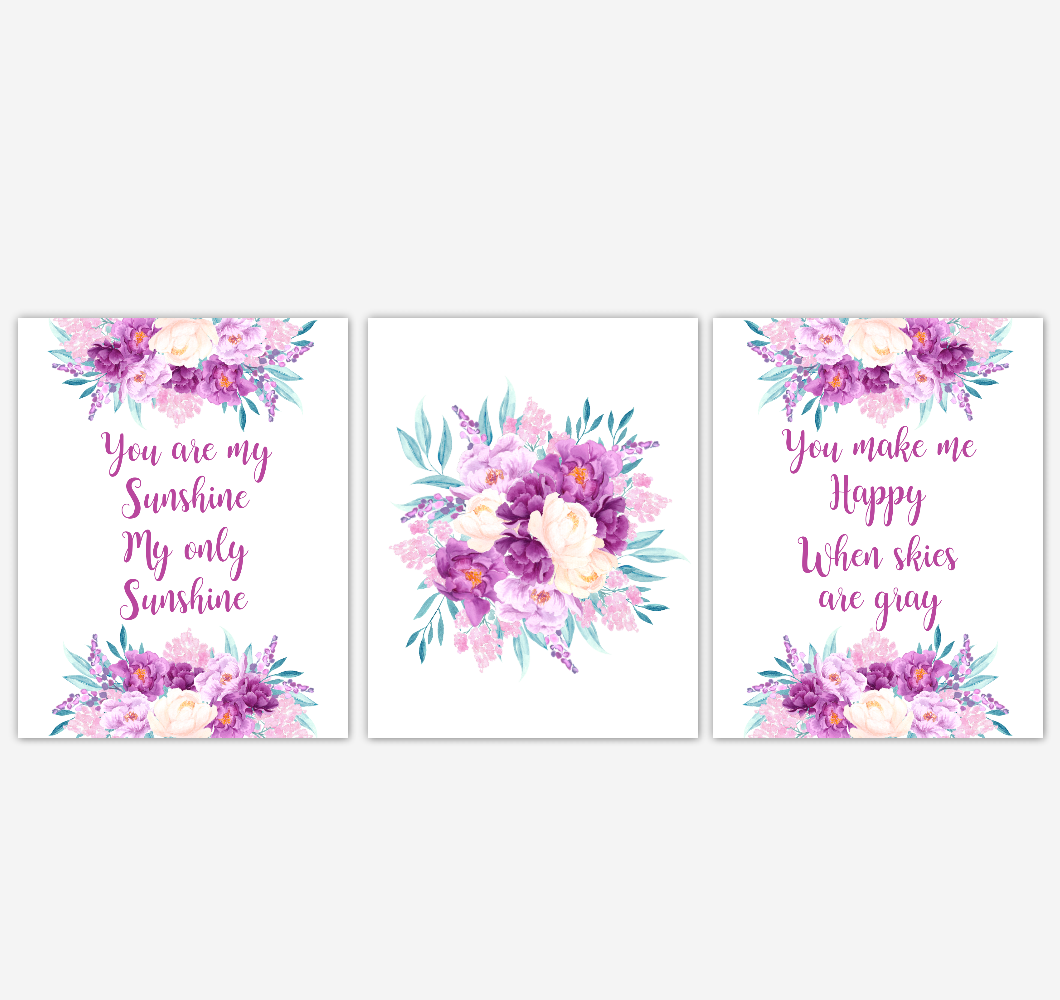 Baby Girl Nursery Wall Art Watercolor Floral Purple Flower Baby Nursery Decor SET OF 3 UNFRAMED PRINTS