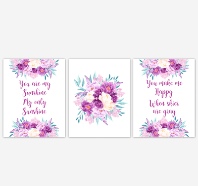 Baby Girl Nursery Wall Art Watercolor Floral Purple Flower Baby Nursery Decor SET OF 3 UNFRAMED PRINTS