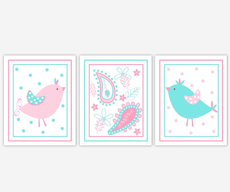 PINK Baby GIRL Nursery Wall Art Aqua Pink Blue Birds Paisley Wall Art Girls Room Prints Art for Baby Girl Nursery Decor Home Decor Pixie Sam Bird Prints Baby Girl Prints SET OF UNFRAMED PRINTS