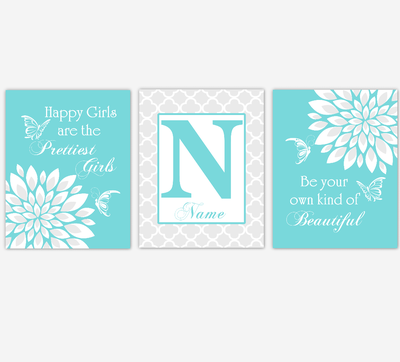 Baby Girl Nursery Wall Art Butterfly Dahlia Mum Teal Aqua Floral Flowers Personalized Baby Nursery Decor SET OF 3 UNFRAMED PRINTS