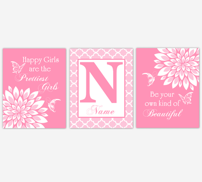 Baby Girl Nursery Wall Art Butterfly Dahlia Mum Pink Floral Flowers Personalized Baby Nursery Decor SET OF 3 UNFRAMED PRINTS
