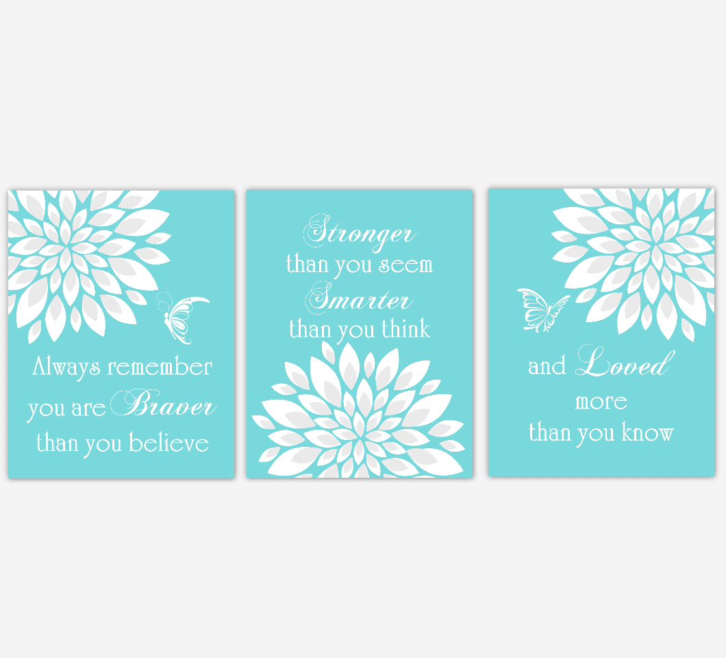 Baby Girl Nursery Wall Art Teal Aqua Dahlia Mum Flower Floral Butterfly Prints Baby Nursery Decor SET OF 3 UNFRAMED PRINTS