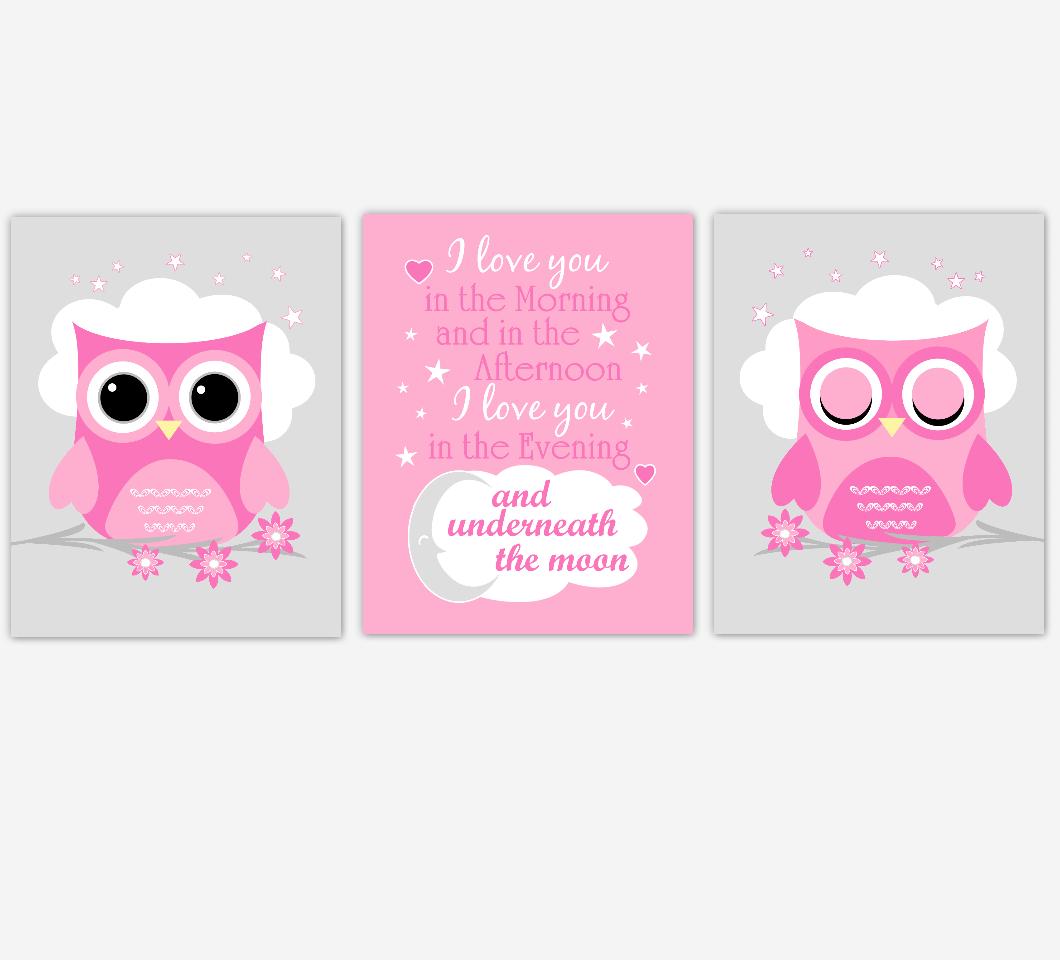 Baby Girl Nursery Wall Art Pink Owls Prints Baby Nursery Decor SET OF 3 UNFRAMED PRINTS