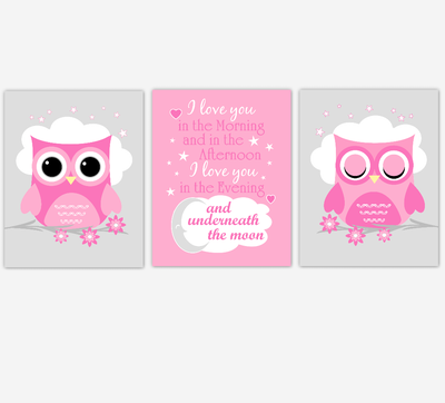 Baby Girl Nursery Wall Art Pink Owls Prints Baby Nursery Decor SET OF 3 UNFRAMED PRINTS