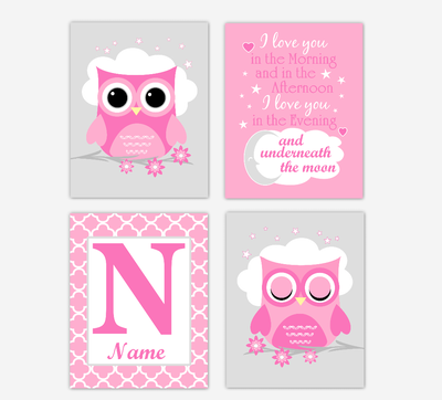 Baby Girl Nursery Wall Art Owls Birds Pink Art Prints Personalized Name Children Quotes Baby Nursery Decor SET OF 4 UNFRAMED PRINTS