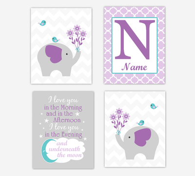 Baby Girl Nursery Wall Art Elephants Safari Animals Purple Teal Art Prints Personalized Name Children Quotes Baby Nursery Decor SET OF 4 UNFRAMED PRINTS
