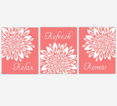 Floral Bathroom Wall Art Prints Dahlia Mum Flowers Coral White Spa Bath Adult Bathroom Decor SET OF 3 UNFRAMED PRINTS