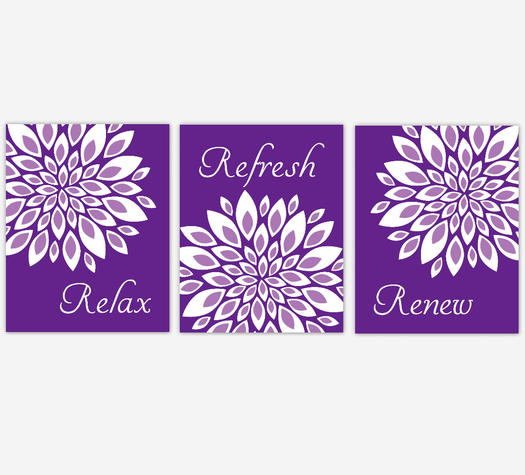 Floral Bathroom Wall Art Prints Dahlia Mum Flowers Purple Lavender White Spa Bath Adult Bathroom Decor SET OF 3 UNFRAMED PRINTS