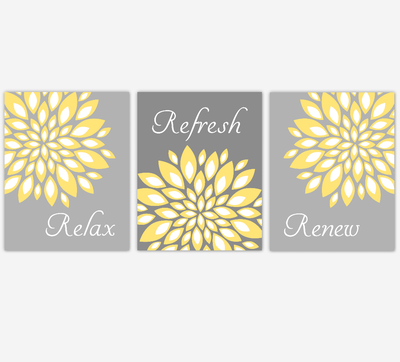 Floral Bathroom Wall Art Yellow Gray Flower Burst Dahlia Mums Spa Bath Rules Home Decor SET OF 3 UNFRAMED PRINTS