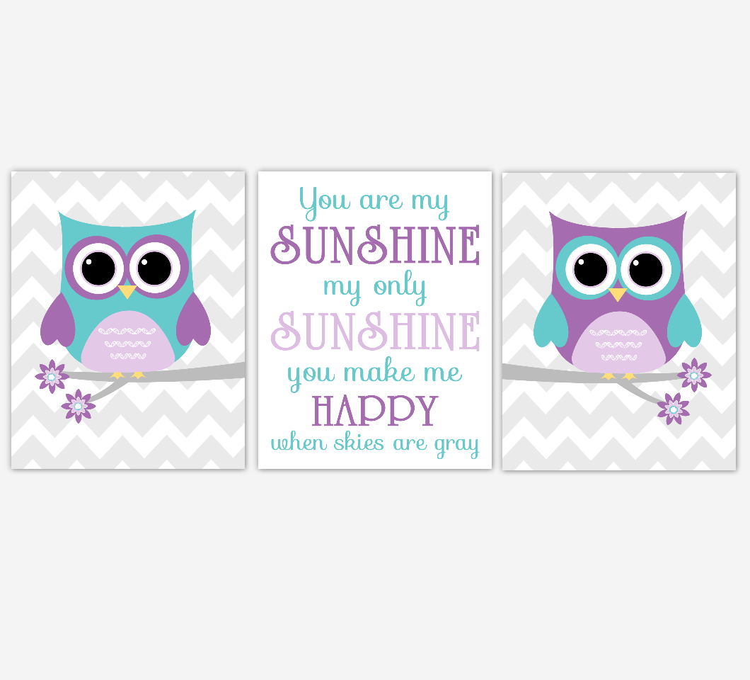 Purple Teal Owl Baby Nursery Wall Art Dahlia Mum Flower You Are My Sunshine Baby Nursery Decor SET OF 3 UNFRAMED PRINTS