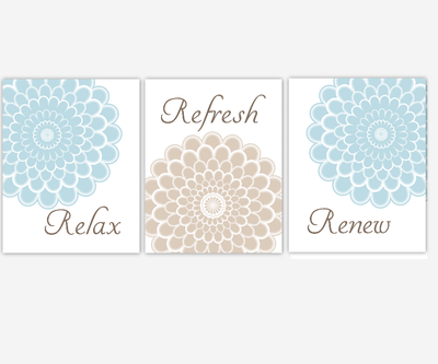 Bathroom Wall Art Blue Relax Refresh Renew Spa Bath Wall Decor Floral Bath Decor Flourish Flower Art For Bath Dahlias Mums Flower Burst Art