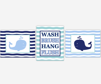 Kids Bath Wall Art Whales Blue Bathroom Decor Wash Brush Hang Flush Bath Rules Under The Sea Bath Decor SET OF 3 UNFRAMED PRINTS