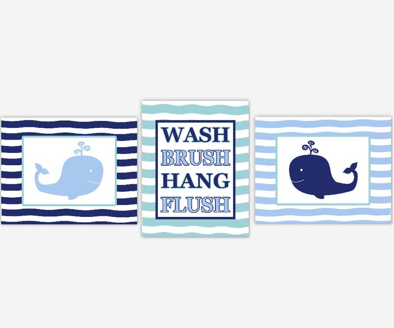 Kids Bath Wall Art Whales Blue Bathroom Decor Wash Brush Hang Flush Bath Rules Under The Sea Bath Decor SET OF 3 UNFRAMED PRINTS