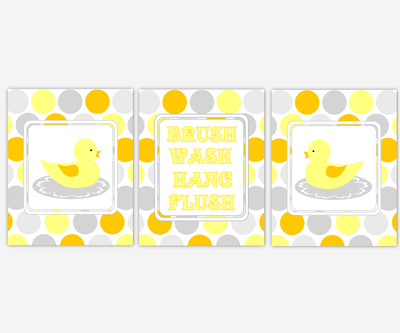 Kids Bath Wall Art Rubber Duck Ducky Yellow Orange Gray Grey Brush Your Teeth Hang Your Towel Wash Your Hands Art for Children's Bathroom SET OF 3 UNFRAMED PRINTS OR CANVAS