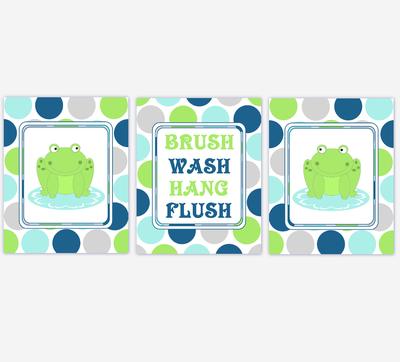 Kids Bath Wall Art Frogs Green Blue Gray Grey Brush Your Teeth Hang Your Towel Wash Your Hands Flush Bath Art For Kids Bathroom