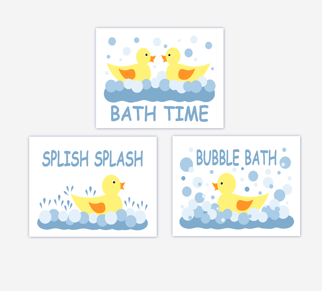 Rubber Ducky Kids Bath Wall Art Rubber Ducks Wall Prints For Children's Bath Baby Nursery Wall Art SET OF 3 UNFRAMED PRINTS
