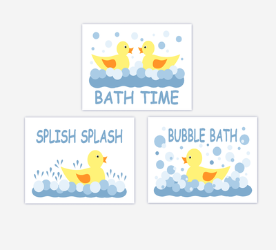 Rubber Ducky Kids Bath Wall Art Rubber Ducks Wall Prints For Children's Bath Baby Nursery Wall Art SET OF 3 UNFRAMED PRINTS