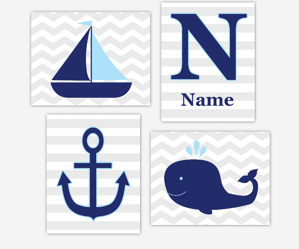 Personalized Baby Nursery Wall Art Navy Blue Nautical Sailboat Boat Anchor Whale Under The Sea Prints for Baby Nursery Prints Kid Bath Monogram Name Wall Art