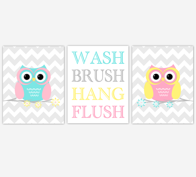 KIDS Bath Wall Art OWL Bath Prints Wash Brush Hang Flush Owl Nursery Decor Children Bathroom Prints Owl Bath Decor Yellow Pink Aqua Bath Art SET OF 3 UNFRAMED PRINTS
