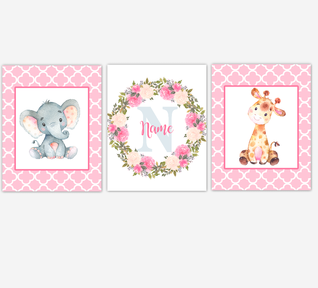 Safari Animals Baby Girl Nursery Wall Art Elephant Giraffe Nursery Pictures Personalized Baby Wall Decor Baby Nursery Decor SET OF 3 UNFRAMED PRINTS
