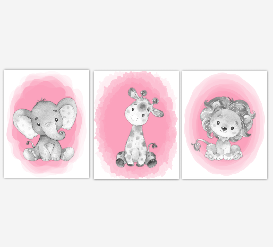 Safari Animals Baby Girl Nursery Wall Art Elephant Giraffe Lion Pink Nursery Pictures Baby Wall Decor Baby Nursery Decor SET OF 3 UNFRAMED PRINTS