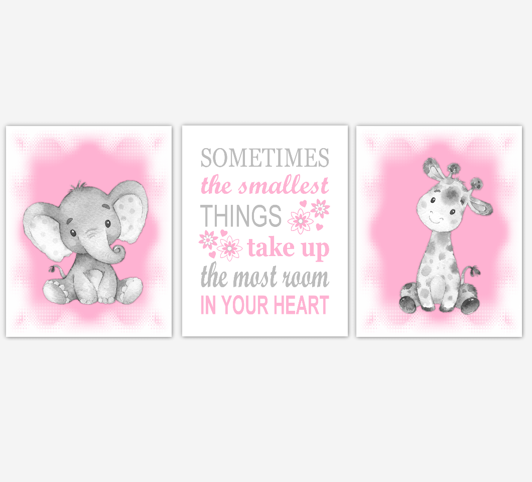 Safari Animals Baby Girl Nursery Wall Art Elephant Giraffe Pink Baby Nursery Pictures Baby Wall Decor Baby Nursery Decor SET OF 3 UNFRAMED PRINTS